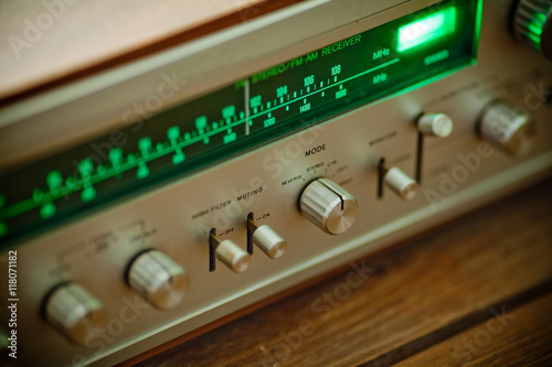 Macro, Vintage stereo receiver tuning scale  wooden cabinet