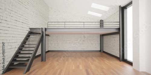 3d interior rendering industrial Mezzanine space and wood floor and ...