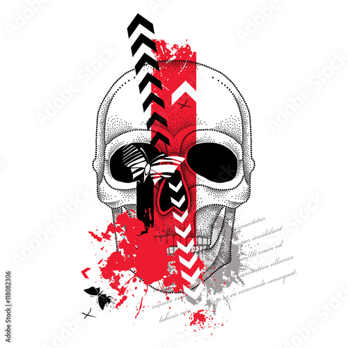 Keuken foto achterwand Vlinders in Grunge Vector illustration with dotted skull, abstract arrows, butterflies and blots in red and black isolated on white. Sketch for tattoo in trendy Trash Polka and dotwork style. Creative design for tattoo.