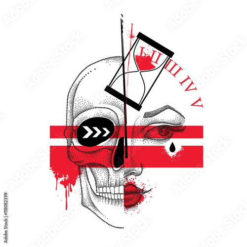 Keuken foto achterwand Vlinders in Grunge Vector illustration with dotted half woman face and skull, abstract lines, hourglass and blots in red and black isolated. Sketch for tattoo in Trash Polka and dotwork style. Creative design for tattoo