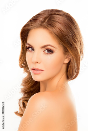 Fototapety, obrazy: Attractive sensitive woman showing perfect skin on shoulder