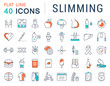 Set Vector Flat Line Icons Slimming