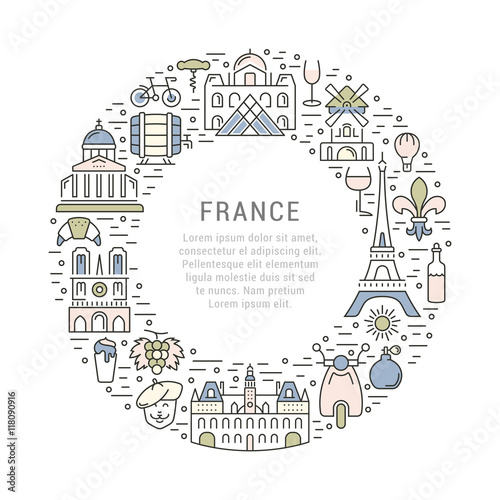Photo  Vector Flat Line Banner Paris and France