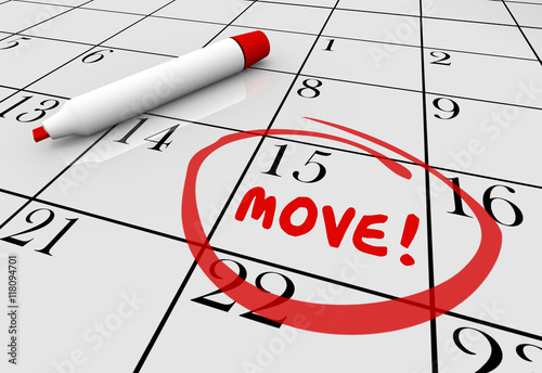 Fotografie, Obraz  Move Date Day Moving Relocation Calendar Word Circled 3d Illustr