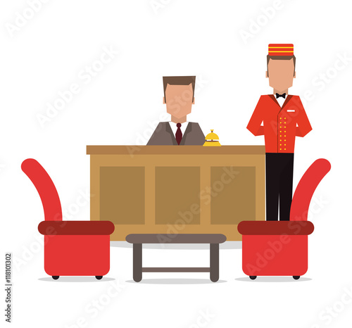 Fotomural bellboy receptionist chairs hotel service icon