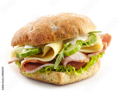 sandwich with meat, cheese and vegetables