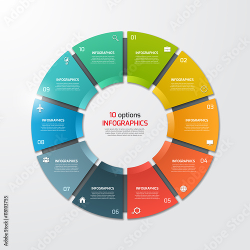 Photo  Pie chart circle infographic template with 10 options