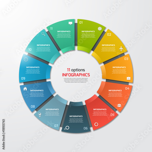 Fotomural Pie chart circle infographic template with 11 options