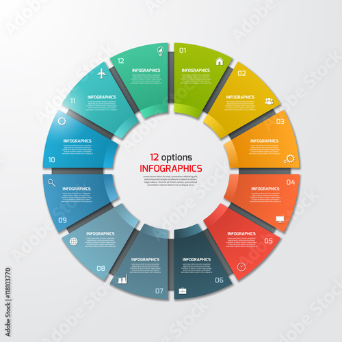 Photo  Pie chart circle infographic template with 12 options