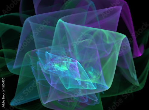 Papiers peints Fractal waves Colorful abstract fractal with transparent waves on a black background