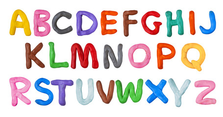 Fototapeta Do przedszkola Handmade plasticine alphabet isolated on white background. English colorful letters of modelling clay.