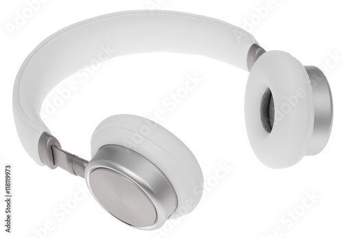 Fotografía  White wireless headphones on a white background. isolate