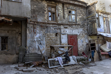 Fototapeta na wymiar Odessa, Ukraine - December 20, 2014: the ruins of the old histor