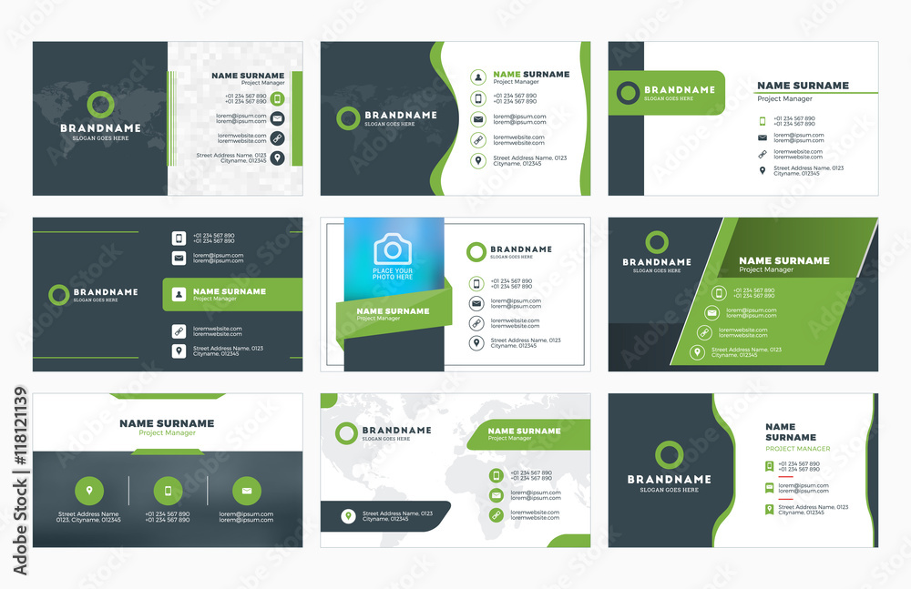 Fototapety, obrazy: Set of modern business card print templates. Personal visiting card with company logo. Vector illustration. Stationery design