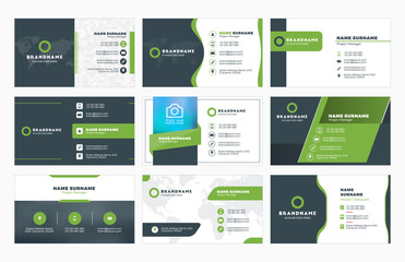Set of modern business card print templates. Personal visiting card with company logo. Vector illustration. Stationery design