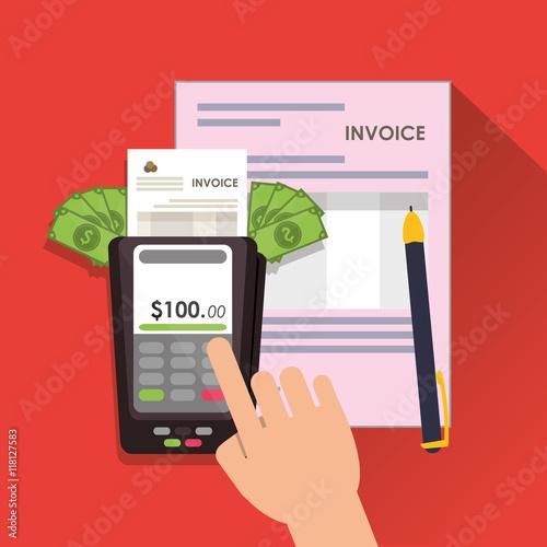 Dataphone Bills Document Payment Financial Item Icon Invoice Design