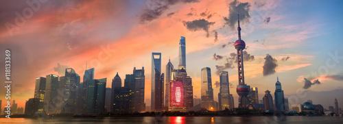 Foto op Aluminium Shanghai Shanghai Pudong skyline panorama at sunrise, China