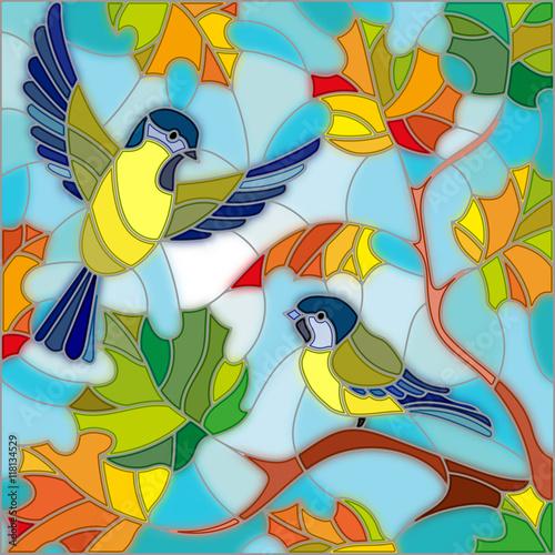 ilustracja-w-stylu-witrazu-na-temat-jesieni-dwa-cycki-na-niebie-i-liscie-klonu