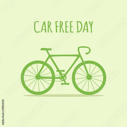 Fotografie, Obraz  Green bike. World car free day. Ecology. Vector illustration.