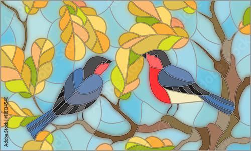 ilustracja-w-stylu-witrazu-na-temat-jesieni-dwoch-gili-na-niebie-i-lisci-debu