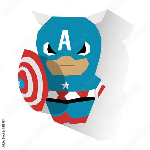 Photo  Flat serious mimimi Funny little Captain A toy superhero