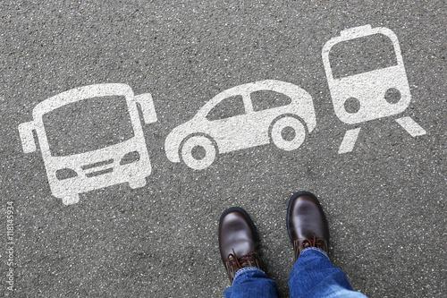Fotografie, Obraz  Bahn Zug Auto Bus Mann Mensch Wahl Auswahl Mobilität Reise reis