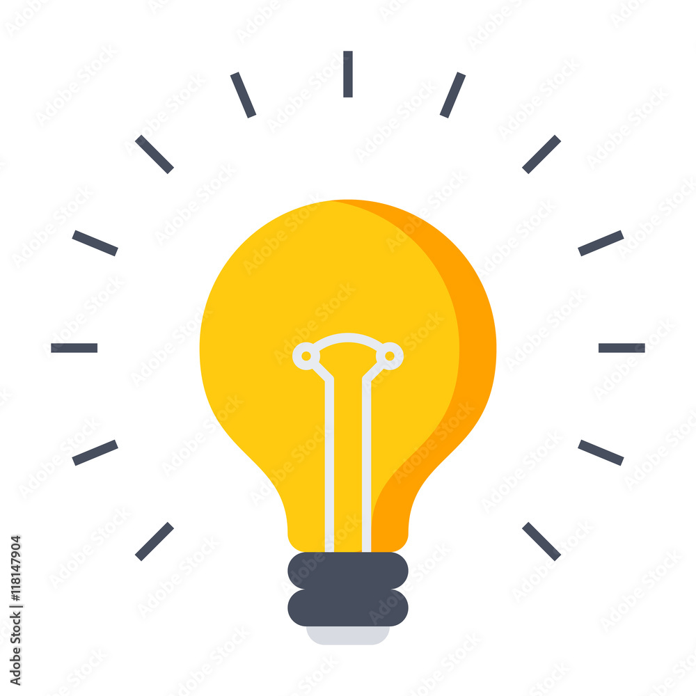 Photo  Innovative idea concept with light bulb in flat style.
