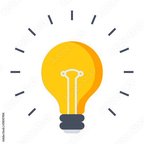 Fototapeta Innovative idea concept with light bulb in flat style.