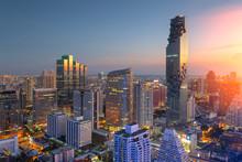 Aerial View Of Bangkok Modern Office Buildings, Condominium In Bangkok City Downtown,Mahanakorn Tower With Sunset Sky , Bangkok , Thailand..