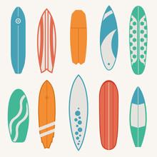 Vintage Surfboards Vector Set