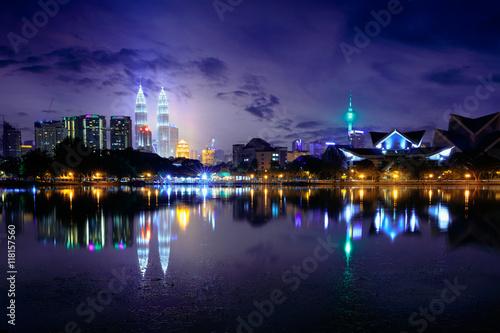 Photo Stands Kuala Lumpur Night view of kuala lumpur city with reflection in water