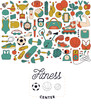 fitness and sport elements in doodle style