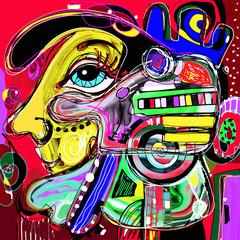 Plakat original abstract digital painting of human face