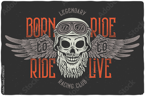 Aggressive vintage t-shirt print with beard skull wearing a biker helmet with spread wings Poster