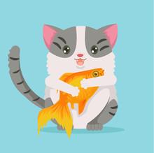 Fat Cat Character Hold Gold Fish. Vector Flat Cartoon Illustration