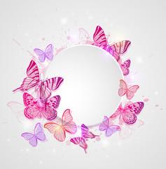 Fototapeta Motyle Round banner with butterflies