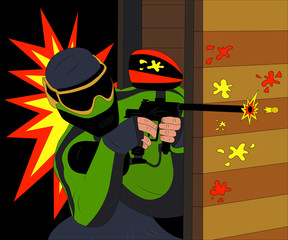 Fototapeta Do pokoju młodzieżowego Cool paintball player shooting from his marker. Vector illustration.