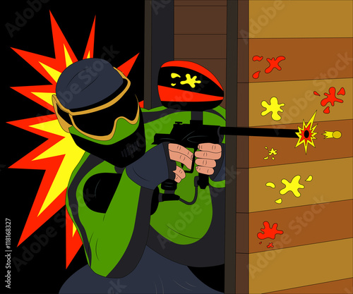 Cool paintball player shooting from his marker. Vector illustration. - 118168327
