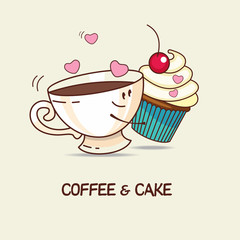 Fototapeta Coffee and cake, love forever. Coffee and cake hug. Comic, carto