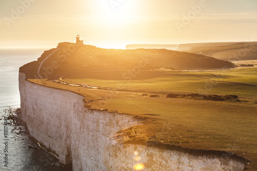 Fotografie, Obraz  Panoramic view of Seven Sisters cliffs at sunset