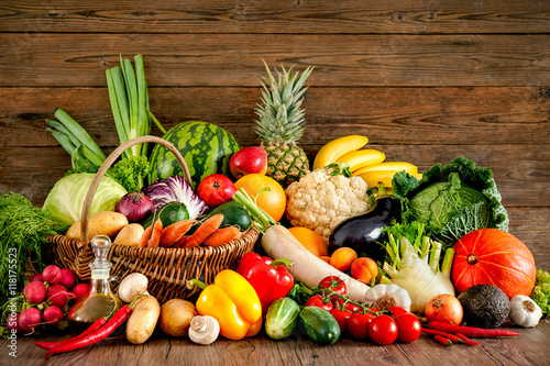 Foto op Aluminium Vruchten Assortment of the fresh fruits and vegetables