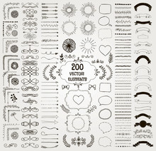 Big Set Of Vector Decorative Hand Drawn Design Elements