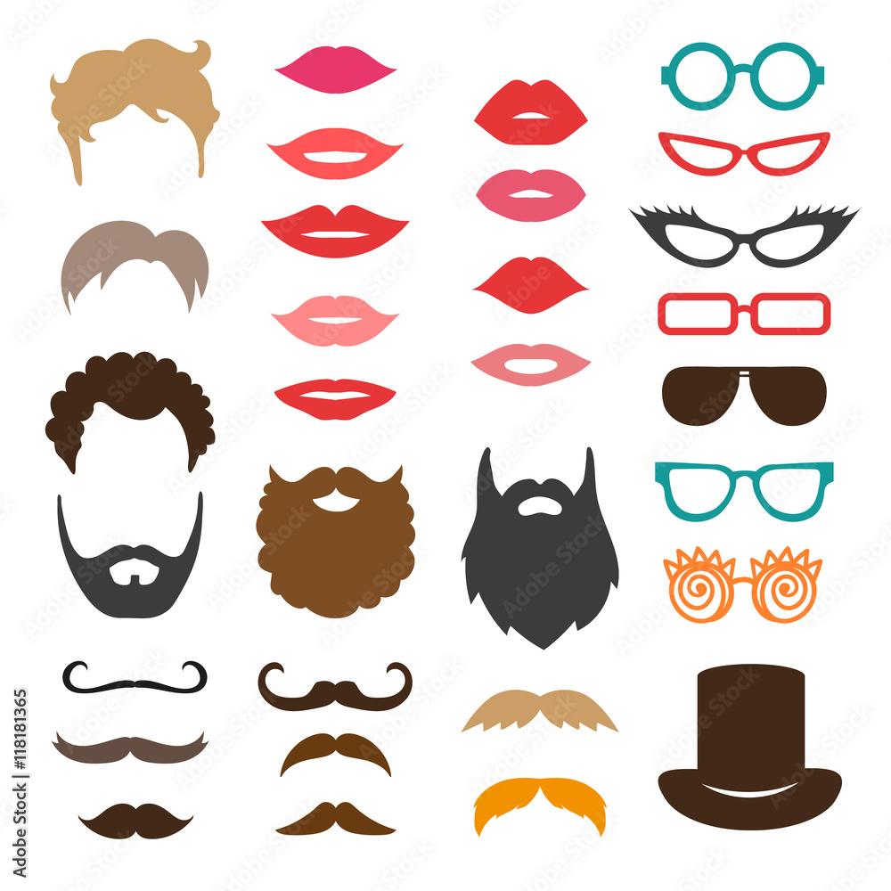 Photo & Art Print Set of mustache, beards, haircuts, lips and ...