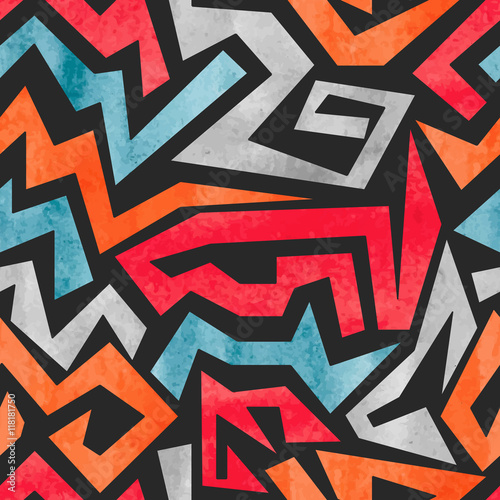 fototapeta na szkło Watercolor graffiti seamless pattern. Vector colorful geometric abstract background.