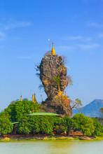 Kyauknalatt Or Kyauk Kalap Pagoda Temple Like A Nail Mountain In Hpa-An Popular Travel In Myanmar (Burma).