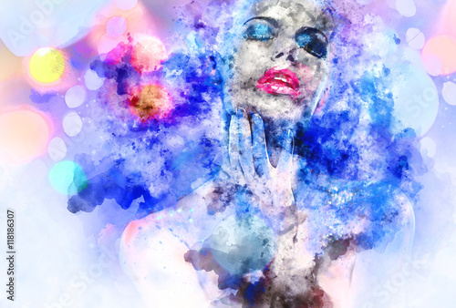 Beautiful woman with a bright make-up. Digital watercolor painti