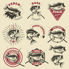 Bass Fishing Labels. Perch Fis...