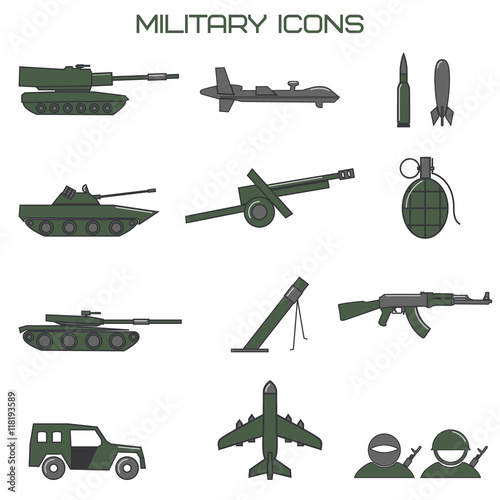 Photo Set of military icons. tank, fighting machine, drone, mortar amm