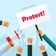 Protesters Hands Holding Protest Signs, Crowd Of Angry People, Political Poster, Activist Fists, Revolution Placard Concept, Flat Cartoon Style Modern Design Vector Illustration