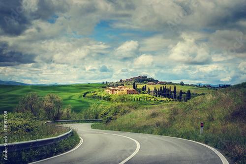 Fotografie, Obraz  asphalt road in Tuscany Italy
